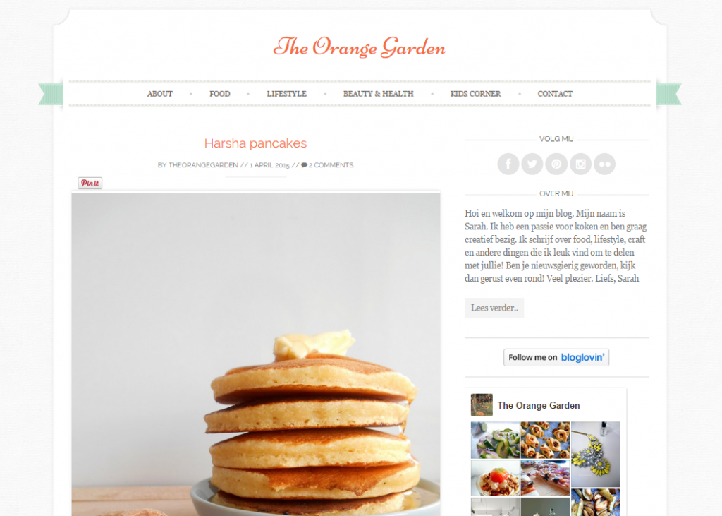 The Orange Garden, nieuwe layout, oude layout, foodblog recepten